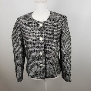 Talbots Blazer Button Front Jacket silk wool sz 8